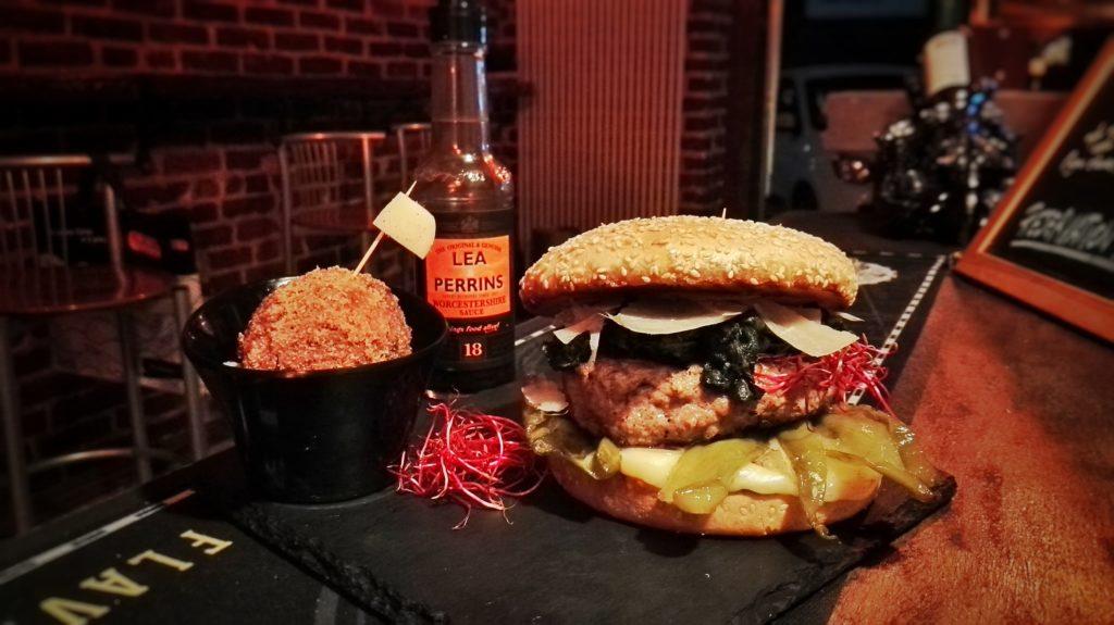 The Pork II, a white flag hamburger